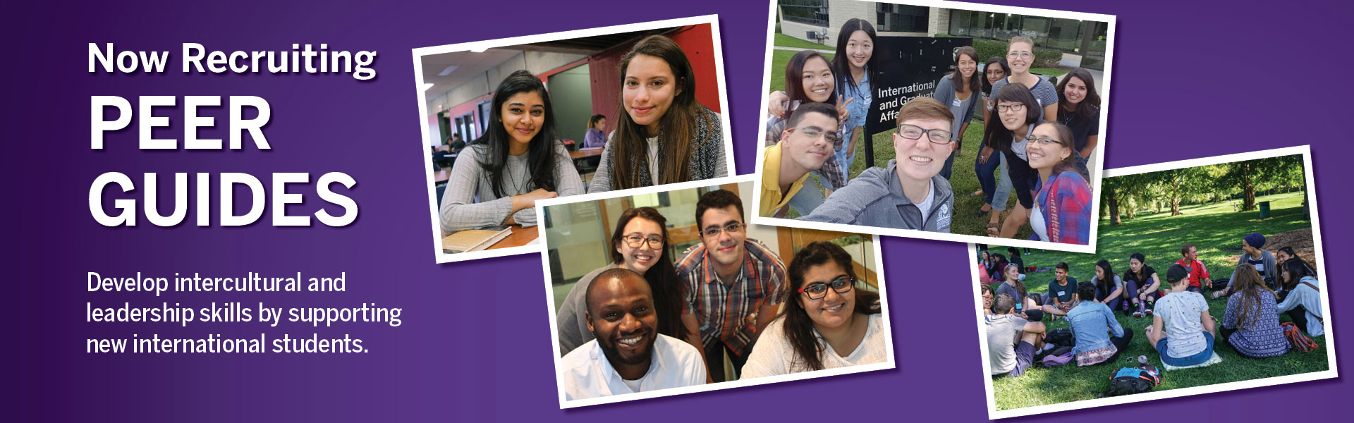 Photos of peer guides with students - ad for recruiting volunteer peer guides